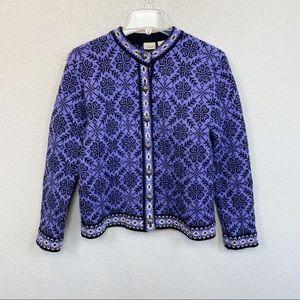 LL Bean Nordic Floral 100% Wool Purple Cardigan